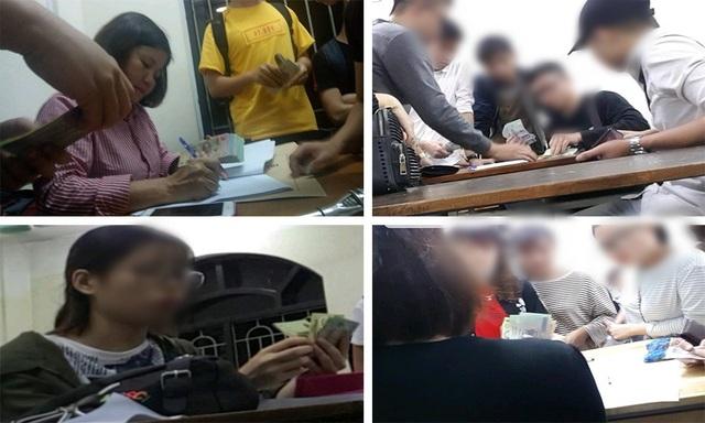 Nườm nượp cảnh đóng tiền chống trượt tại khoa Ngoại ngữ (ảnh: báo Lao Động)