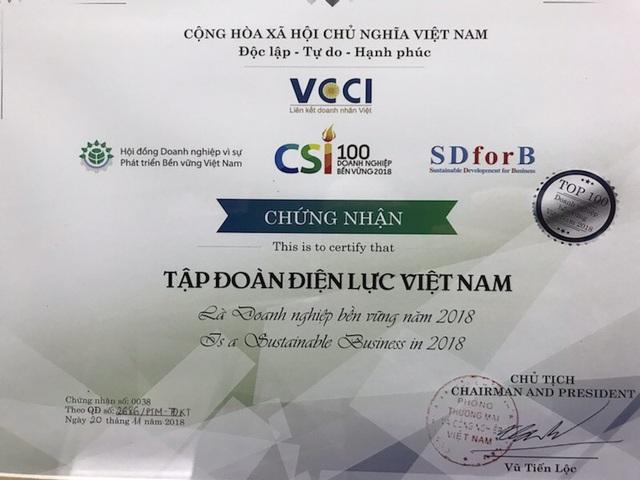 EVN được công nhận Doanh nghiệp bền vững tại Việt Nam năm 2018