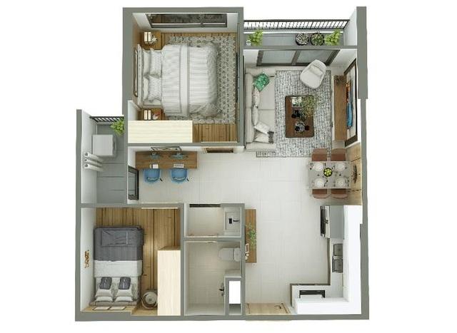 Thiết kế thông minh, căn hộ 55m2 vẫn ở thoải mái - 1