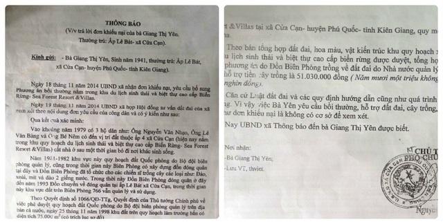 Xung quanh những khiếu nại của UBND xã Cửa Cạn, gia đình bà Yên cho là vô lý, vì nếu năm 1981 -1982, gia đình bà không ở đây thì tại sao các hộ giáp ranh và ông Phó Đồn 766 ký xác nhận vào?