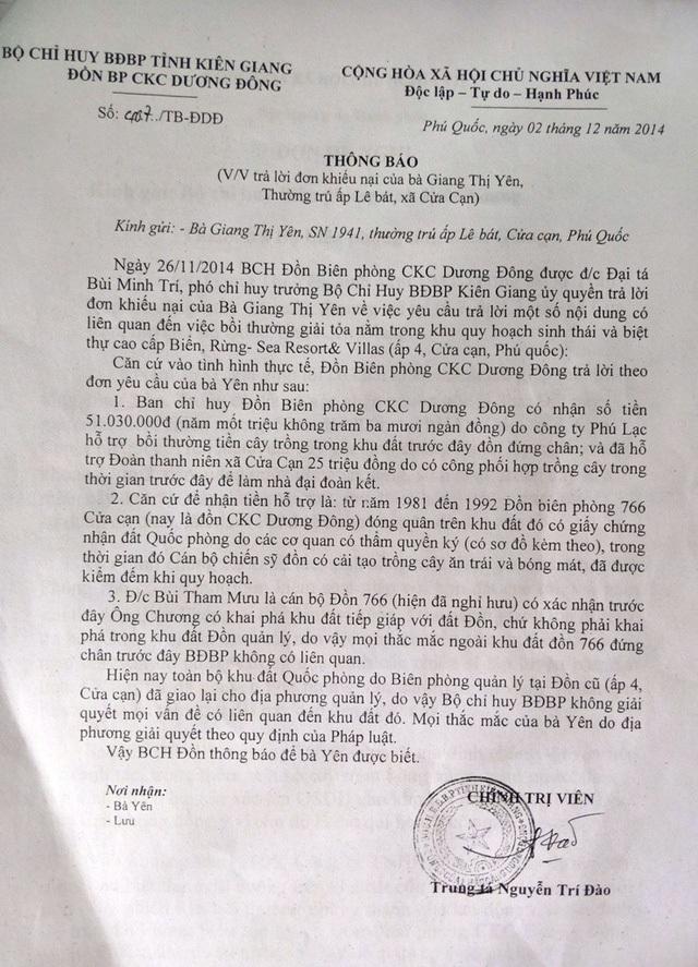 Trong thông báo gửi đến bà Giang Thị Yên, cán bộ Bộ đội Biên phòng tỉnh Kiên Giang cũng nói rõ lời xác nhận của Phó Đồn 766 là ông Bùi Tham Mưu về việc vợ chồng bà Yên có khai khẩn một thửa đất tiếp giáp với Đồn 766