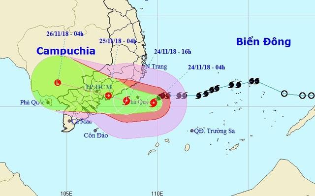Vị trí và hướng di chuyển của bão số 9. (Ảnh: NCHMF).