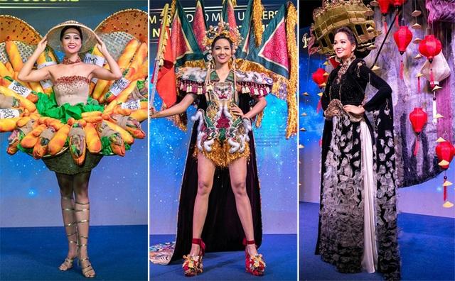 """3 bộ trang phục mang 3 ý tưởng là: """"Bánh mì"""" lấy cảm hứng từ món ăn dân dã của người dân Việt Nam; """"Phố cổ"""" tái hiện khung cảnh quen thuộc của phố cổ Hội An; """"Ngũ hổ"""" hình ảnh tranh thờ Hàng Trống và nghệ thuật hát Tuồng."""