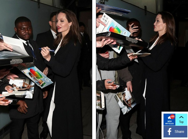 Angelina Jolie ký tặng fans trước khi vào dự sự kiện