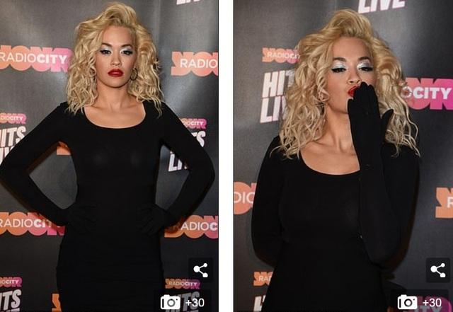 Bộ trang phục khá kín đáo so với phong cách thường thấy của Rita Ora