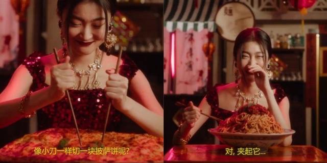 Hình ảnh được cắt từ clip quảng cáo của DG với hình ảnh một người phụ nữ Trung Quốc dùng đũa để ăn các món ăn phương Tây.