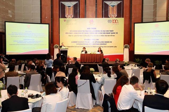 Hội thảo về chính sách thị trường lao động và nâng cao kỹ năng hội nhập quốc tế. (Ảnh: D.C)