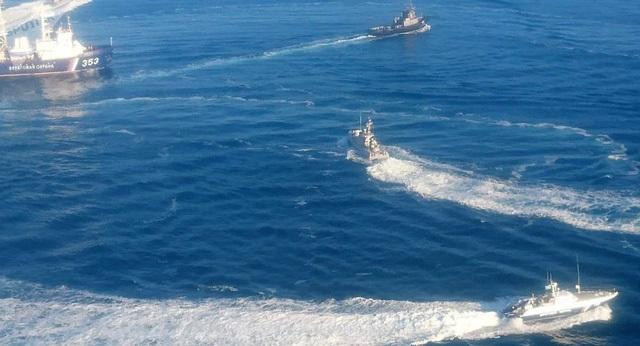 Các tàu Ukraine bị tố xâm phạm lãnh hải Nga ngày 25/11. (Ảnh: FSB)