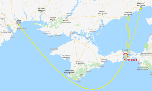 Hành trình của các tàu Ukraine (đường màu vàng) qua eo biển Kerch. (Ảnh: RT)
