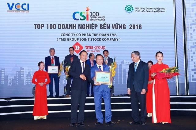Ông Nguyễn Việt Thung - Tổng Giám đốc Tập đoàn TMS nhận vinh danh Doanh nghiệp bền vững Việt Nam 2018