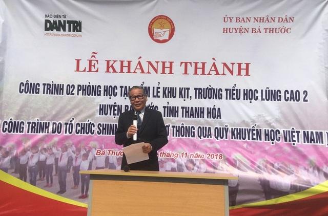 Nhà báo Nguyễn Lương Phán, Phó tổng biên tập báo Dân trí phát biểu tại buổi lễ khánh thành công trình phòng học Dân trí.