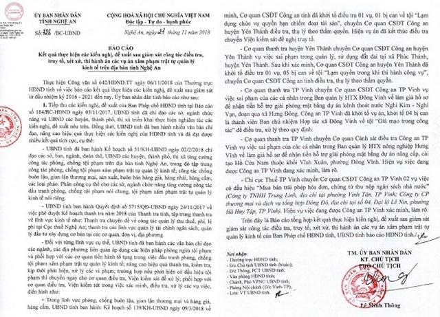 Báo cáo kết quả thực hiện các kiến nghị, đề xuất sau giám sát công tác điều tra, truy tố, xét xử, thi hành án các vụ án xâm phạm trật tự quản lý kinh tế trên địa bàn tỉnh Nghệ An.