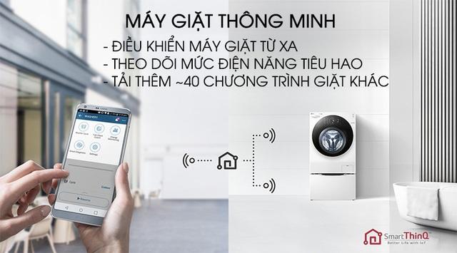 Dòng máy giặt lồng đôi LG TWINWash tichs hợp Wifi để có thể điều khiển từ xa qua điện thoại