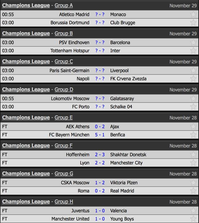 Lịch thi đấu và kết quả lượt thứ 5 vòng bảng Champions League