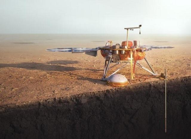 Ảnh minh họa tàu vũ trụ InSight trên Sao Hỏa.
