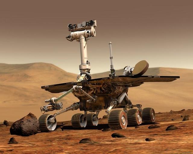 Đây là một chiếc xe tự hành trên sao Hỏa. Các nhà khoa học trên Trái Đất điều khiển xe chạy trên bề mặt sao Hỏa để tìm hiểu các đặc tính địa chất của hành tinh này.