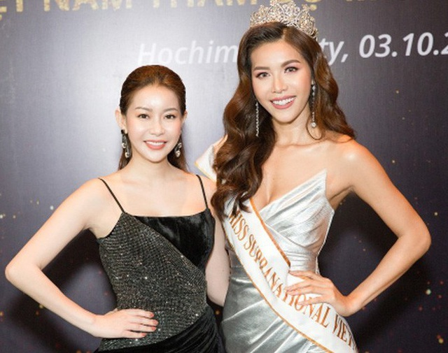 Hoa hậu Hải Dương - đại diện đơn vị nắm bản quyền cuộc thi Hoa hậu Siêu quốc gia tại Việt Nam và Minh Tú trước ngày lên đường đi thi.