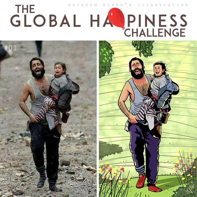 Bức ảnh hai cha con hoảng loạn trong cuộc chiến được Mishu tái hiện lại với nụ cười đầy hạnh phúc trên gương mặt của hai cha con