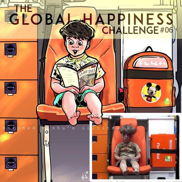 Em bé ngồi thất thần sau một vụ nổ bom. Nếu chiến tranh không xảy ra, nỗi sợ hãi của em bé sẽ được thay bằng niềm vui khi được cầm trên tay cuốn truyện cổ tích