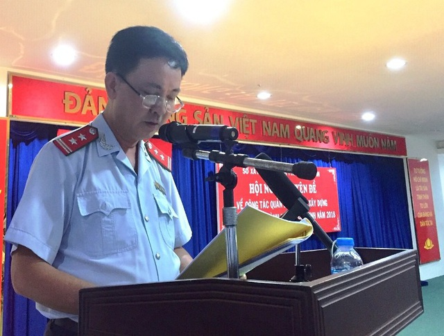 Ông Lý Thanh Long, Chánh Thanh tra Sở Xây dựng TPHCM phát biểu tại Hội nghị chuyên đề về công tác Quản lý trật tự xây dựng trên địa bàn thành phố năm 2018.