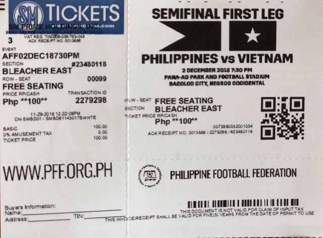 Mệnh giá vé trận Philippines-Việt Nam tại Bacolod khá rẻ