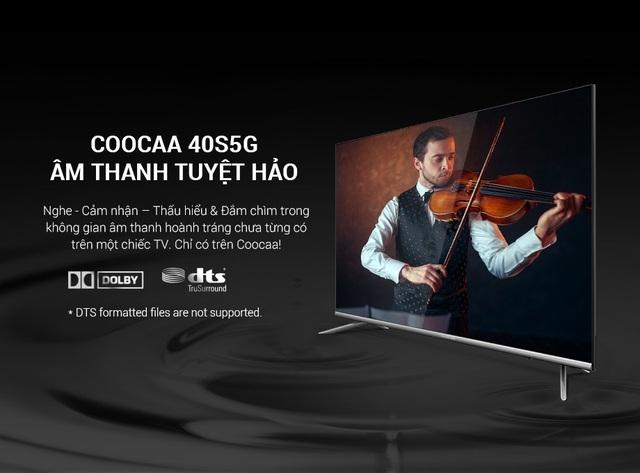 Công nghệ Dolby và DTS Tru-surround được trang bị trên Coocaa 40S5G để đem đến trải nghiệm âm thanh chân thực, sống động (updating)