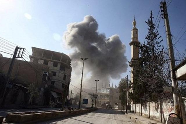 Nổ trụ sở quân đội Nga ở Syria. Ảnh: EBAA