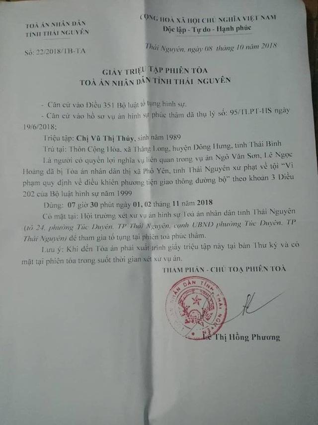 Giấy triệu tập phiên toà do thẩm phán, chủ toạ Lê Thị Hồng Phương ký.