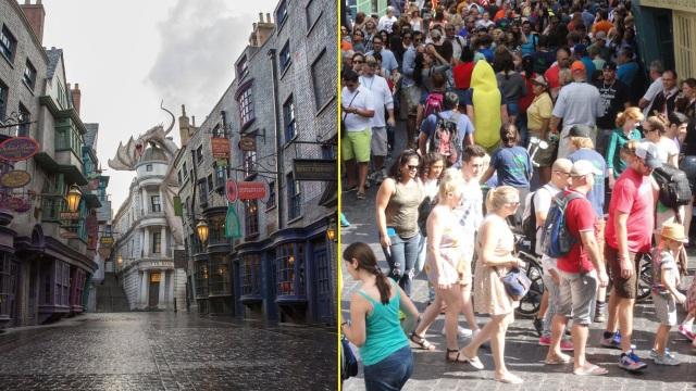 Hẻm Xéo được thiết kế khá chi tiết, giống hệt trong bộ phim Harry Potter. Tuy nhiên, khi thực sự đặt chân đến nơi đây luôn chật kín người và người.