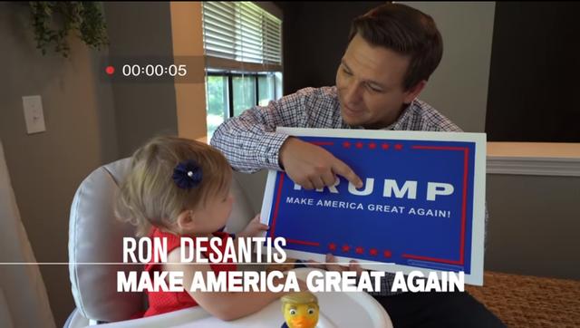Ông Ron DeSantis dạy con gái đọc thông điệp tranh cử năm 2016 của Tổng thống Trump (Ảnh: Youtube)
