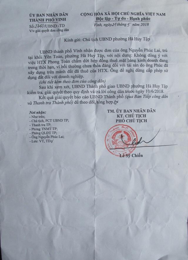 Ý kiến của UBND thành phố Vinh yêu cầu UBND phường Hà Huy Tập kiểm tra, giải quyết kiến nghị của công dân.