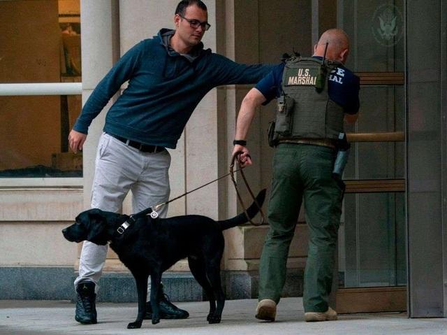 Đội ngũ an ninh có vũ trang và chó nghiệp vụ liên tục tuần tra bên ngoài tòa án ngày 5/11 (Ảnh: The Drive)