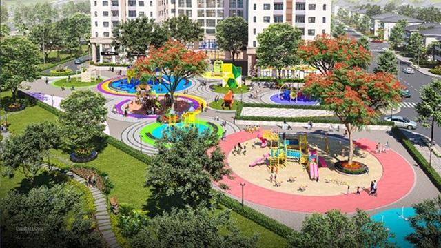 Công viên Rainbow Land xanh mát là nơi vui chơi cho các cư dân nhí của Dream Home Riverside