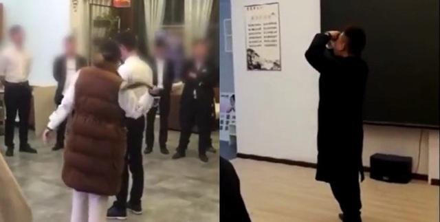 Các nhân viên bị dùng thắt lưng da quất vào người và bị ép buộc phải uống nước tiểu (Ảnh cắt từ clip)