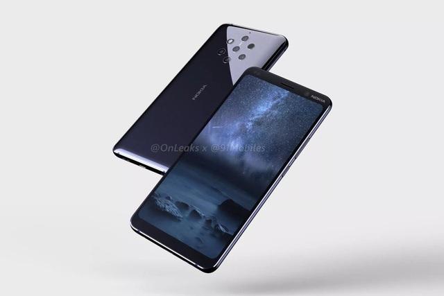 Nokia 9 với thiết kế màn hình tràn viền và mặt sau là sự hiện diện của cụm 5 camera
