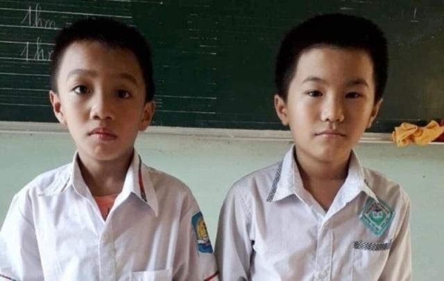 Hai em Ngô Nhất Phi và Trịnh Ngọc Mạnh, học sinh lớp 3B, trường Tiểu học Định Tân.
