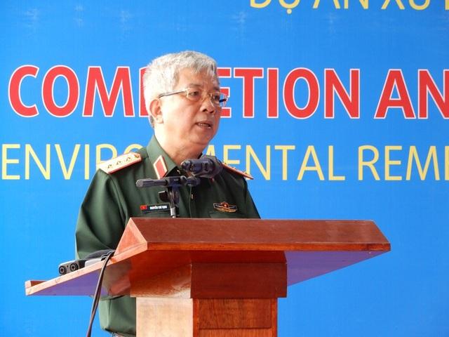 Thượng tướng Nguyễn Chí Vịnh, Thứ trưởng Bộ Quốc phòng Việt Nam phát biểu tại buổi lễ