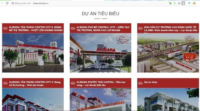 """Công ty Cổ phần Địa ốc Alibaba đang thực hiện hàng loạt dự án tại tỉnh Bà Rịa – Vũng Tàu và Đồng Nai nhưng hai địa phương này đang rất """"ngán ngẩm""""."""