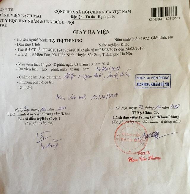Giấy tờ xác nhận bệnh án của chị Thương.