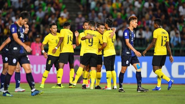 Niềm vui chiến thắng của các cầu thủ Malaysia