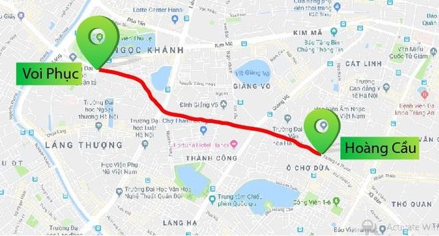 Bản đồ chi tiết 2,2 km Hoàng Cầu - Voi Phục chuẩn bị được thi công mở rộng. Ảnh: Google Maps.