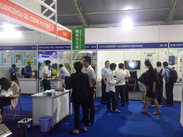 Các doanh nghiệp tham gia triển lãm ngành nước với nhiều sản phẩm có công nghệ tiên tiến, hiện đại.