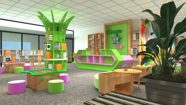 Thư viện trường với nhiều đầu sách hay được thiết kế khá bắt mắt