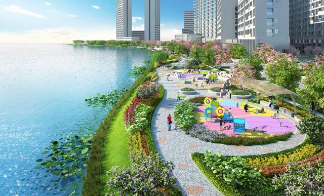 Công trình nhà ở có thêm một phần giá trị khi cạnh bên là công viên hoa anh đào Sakura Park lần đầu tiên được quy hoạch tại đô thị Phú Mỹ Hưng và cả nước