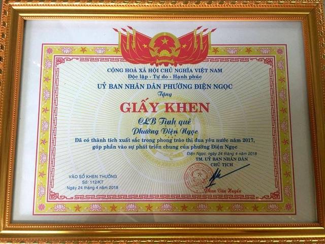 Bằng khen của UBND phường Điện Ngọc khen thưởng CLB Tình quê