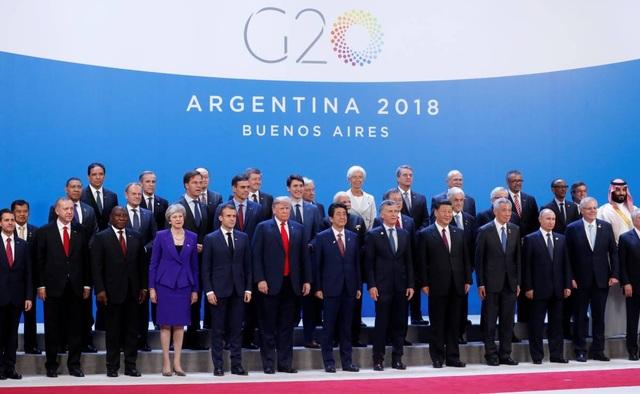 Các nhà lãnh đạo thế giới chụp ảnh lưu niệm chung tại hội nghị G20 ở Argentina (Ảnh: Reuters)