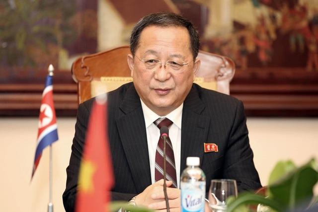Ngoại trưởng Triều Tiên Ri Yong-ho trong cuộc họp với Bộ trưởng Ngoại giao Việt Nam Phạm Bình Minh tại Hà Nội ngày 30/11. (Ảnh: Reuters)