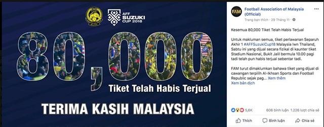 FAM xác nhận đã bán xong 80.000 vé trận đấu ở sân Bukit Jalil tối nay