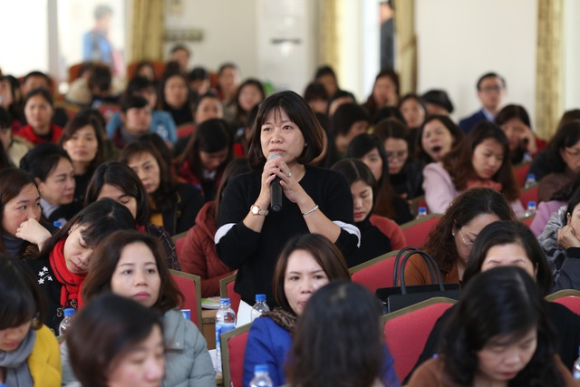 Toàn cảnh hội trường tại buổi tập huấn quận Hoàng Mai.