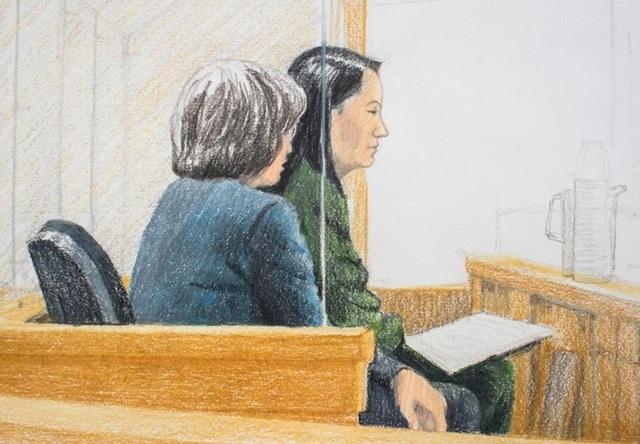 Tranh vẽ phiên tranh luận về bảo lãnh tại ngoại bà Mạnh Vãn Chu tại Canada. (Ảnh: AP)